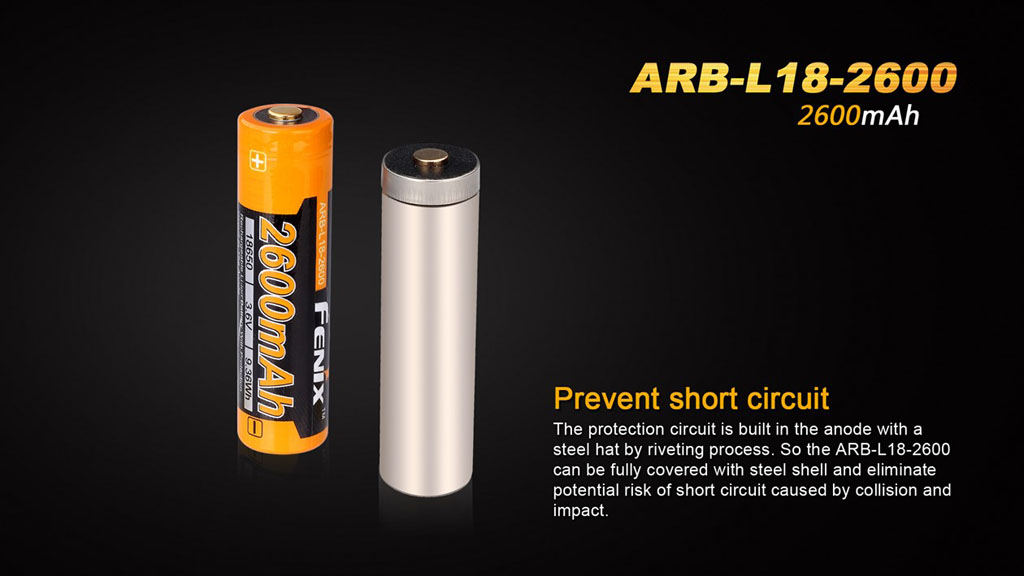 Fenix Arb L18 2600 18650 2600 Mah Rechargeable Battery